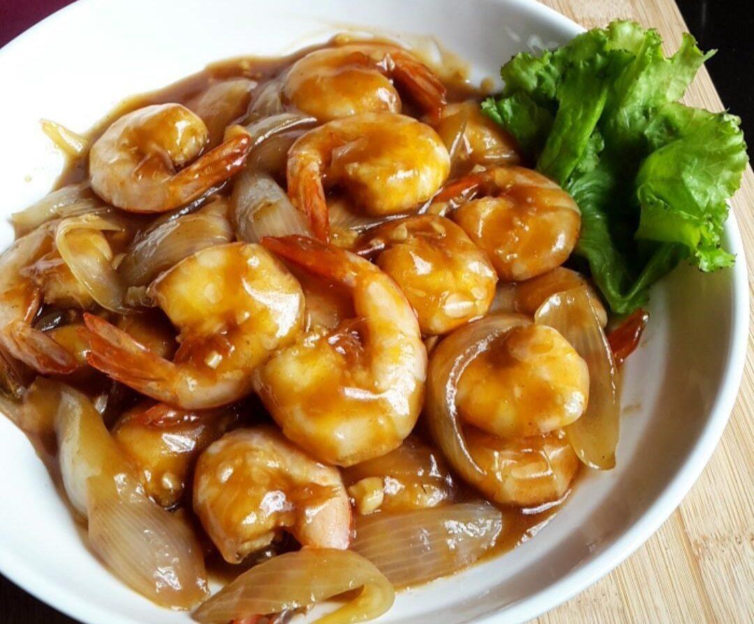 resep tumis udang bawang bombay